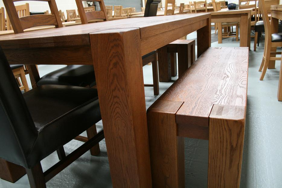Boston dark oak dining furniture chunky benches tables Oak bench