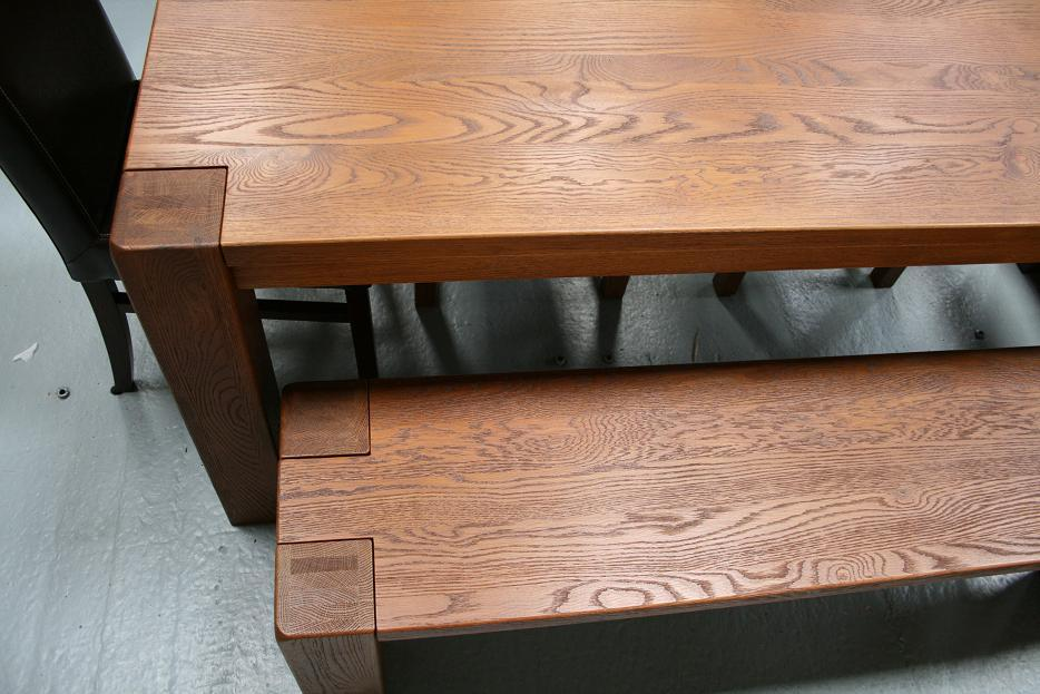boston dark oak dining furniture chunky benches tables