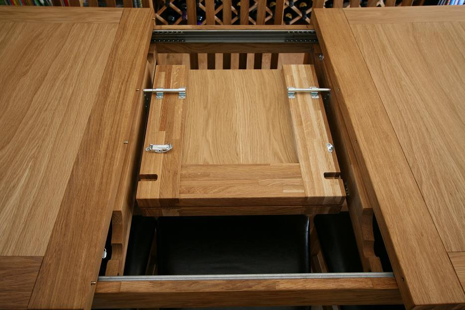 Open And Close The Tallinn Table In Seconds No Need To Store Extension Roof It Tucks Away Beneath Top