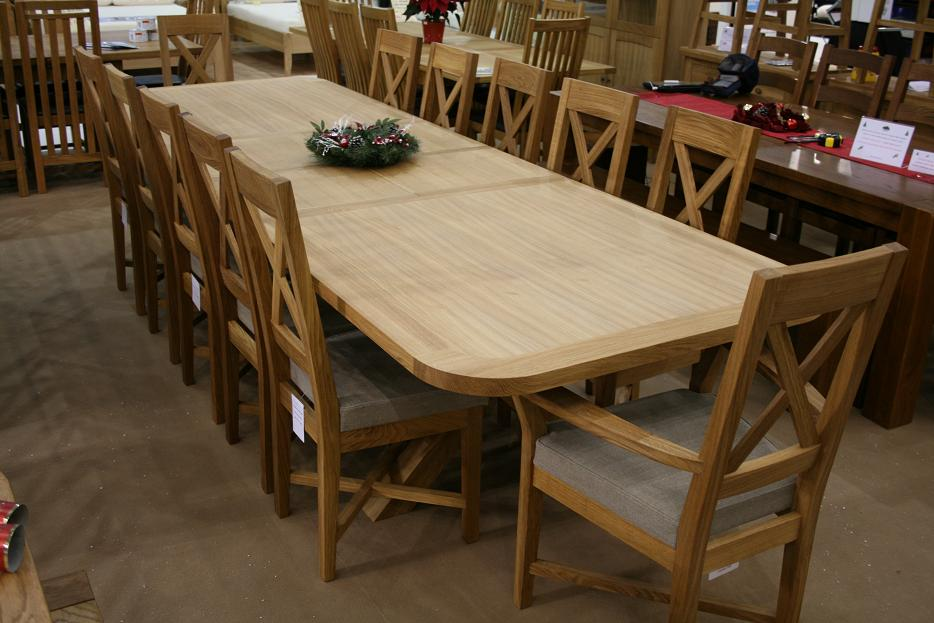 4m 8 seater square oak table now replaced by a 130cm square 8 seater