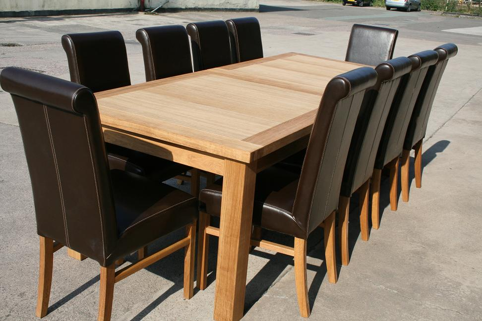 Large oak dining room table seats 10 12 14 chairs ebay for 12 seat dining table and chairs