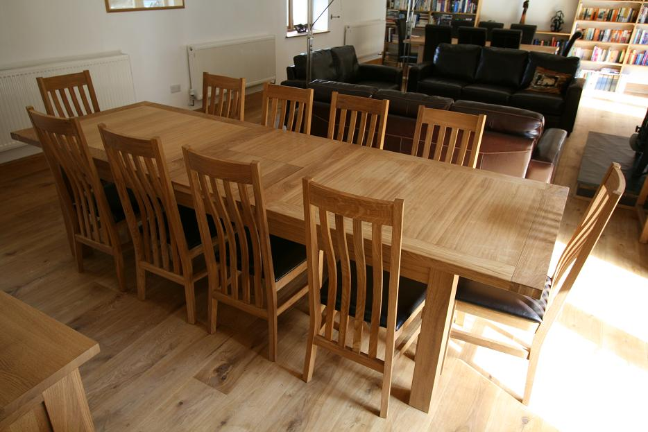 Large dining table seats 10 12 14 16 people huge big for Dining room 12 seater table