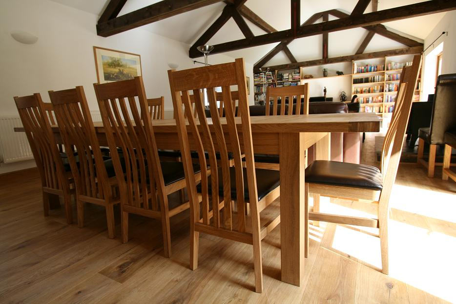 10 Person Table Part - 43: The Slatted Back Design Of The Winchester Solid Oak Chairs Make These  Without Doubt Some Of The Finest Oak Chairs In The UK.