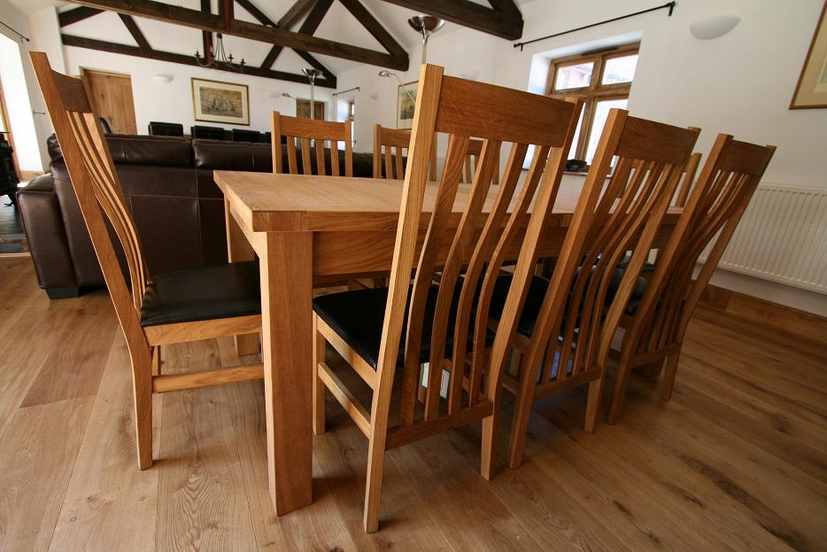 Large oak dining room table seats 10 12 14 chairs ebay for Dining room tables 8 seats