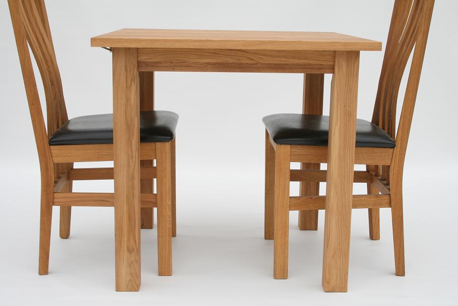 Solid oak dining table 80cm x 80cm 2 seater just 149 ebay for Compact table and chairs set
