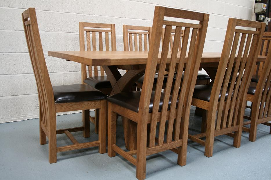 Shown With 8 Slatted Back Vancouver Chairs Dark Brown Leather Pads Prices At 9999 Each
