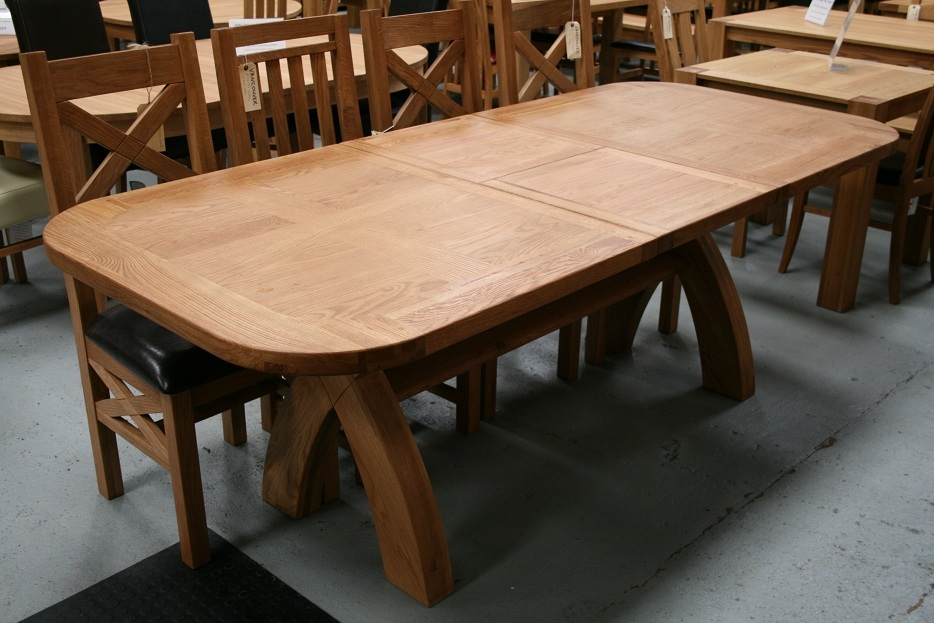 Country oak furniture rustic oak dining table furniture for X leg dining room table