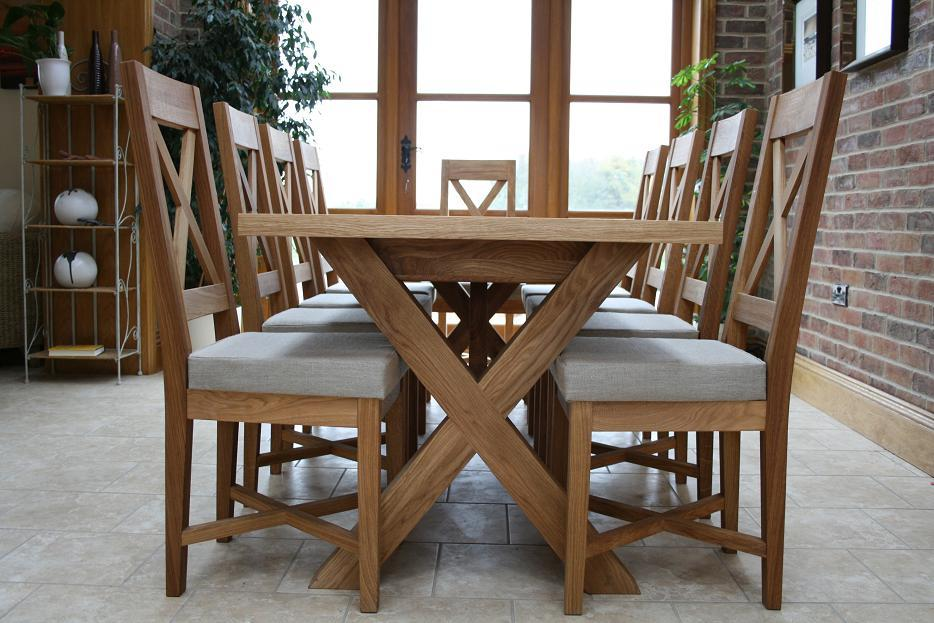 Cross leg dining tables extending oxbow table