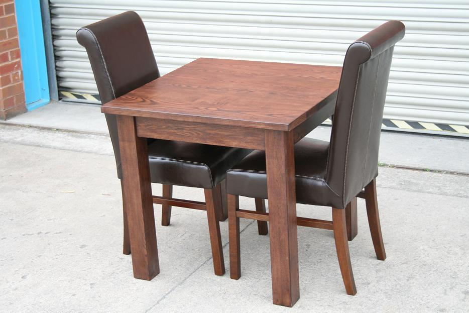 dark brown solid oak dining table chair set matt lacquered finish