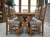 Cross Leg Oak Dining Table & Chairs.  Tables from �399