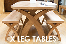 Cross leg dining tables made of European or rustic American oak