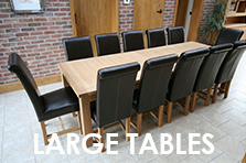 Large oak dining tables to seat 10, 12, 14 or 16 people