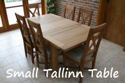 Small 1.2 - 1.7m Tallinn Oak Table - Just �389.  Shown with cross back linen chairs @ �99.99 each