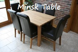 The �199 80cm x 120cm medium size Minsk dining table in solid European oak