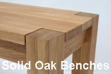 Solid oak dining benches