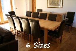 The stunning Tallinn European oak table.  Shown with the Titan leather chair @ £99.99 each