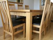 Tallinn oak Dining Table Set with Winchester Leather dining chairs