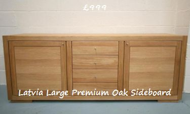 Latvia 218cm wide premium oak sideboard - Click for more details