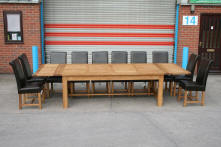 Huge solid oak refectory tables up to 4.2m in length and 120 cm wide